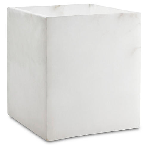 Alabaster Wastebasket, White