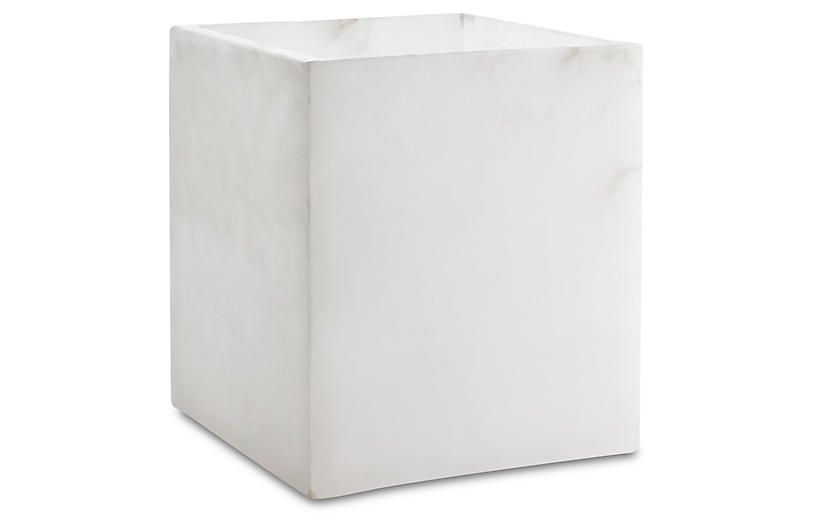 Alabaster Wastebasket, White