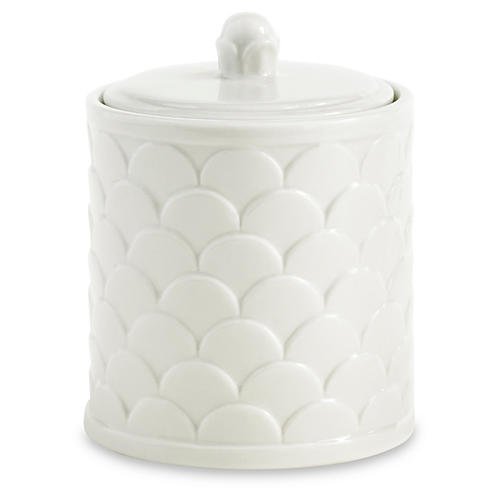 Scala Porcelain Cotton Jar, White