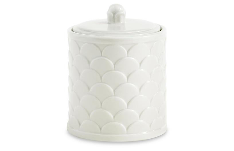 Scala Porcelain Cotton Jar, White