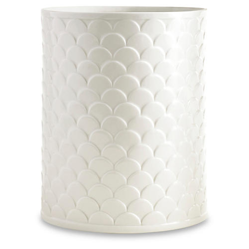 Scala Porcelain Wastebasket, White