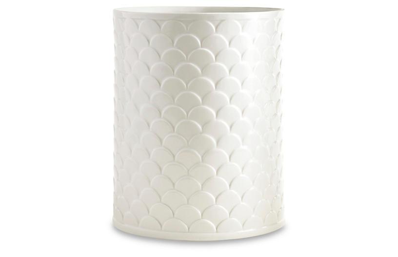 Scala Porcelain Wastebasket, White