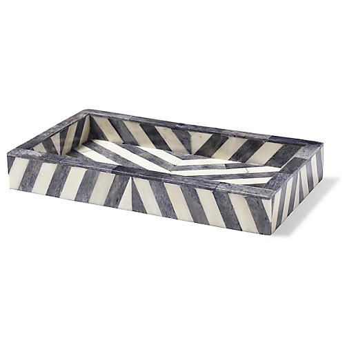 Bristol Tray, Gray/White