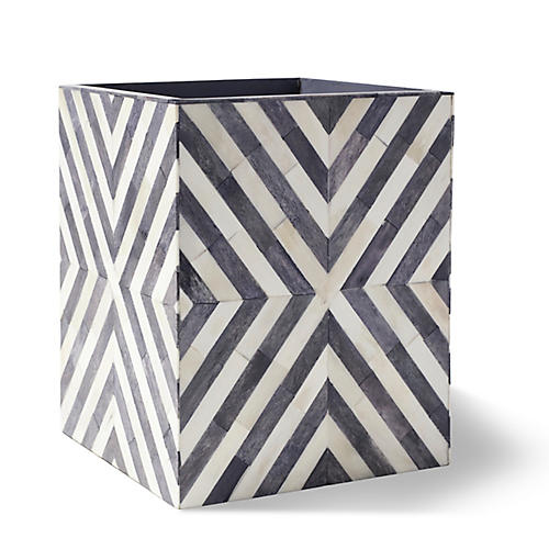 Bristol Bone Wastebasket, Gray/White