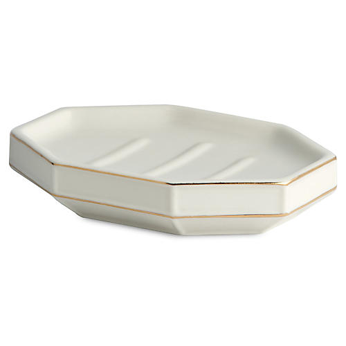 St. Honore Soap Dish, White/Gold