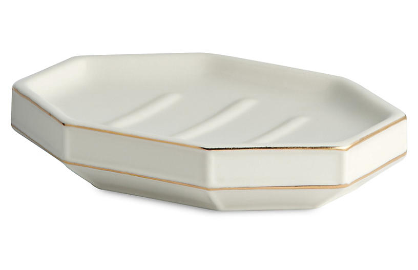 St. Honore Soap Dish, Cream/Gold
