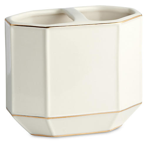 St. Honore Toothbrush Holder, White/Gold