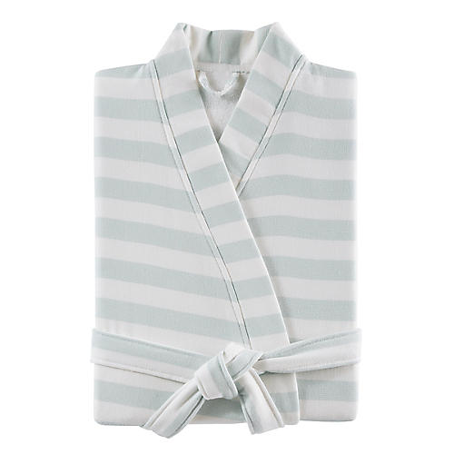 Fouta Striped Cotton Bathrobe, Blue
