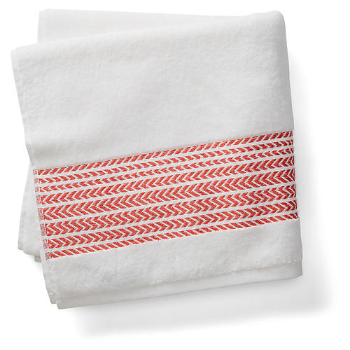 Baja Bath Towel, Poppy Coral