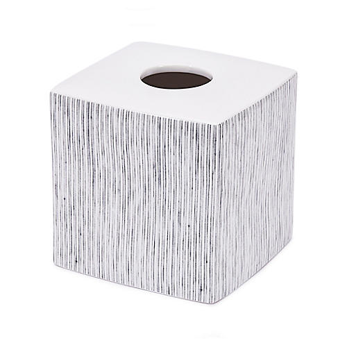 Wainscott Tissue Box Cover, White