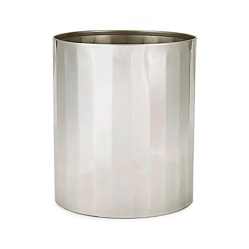 Nomad Wastebasket, Antiqued Silver