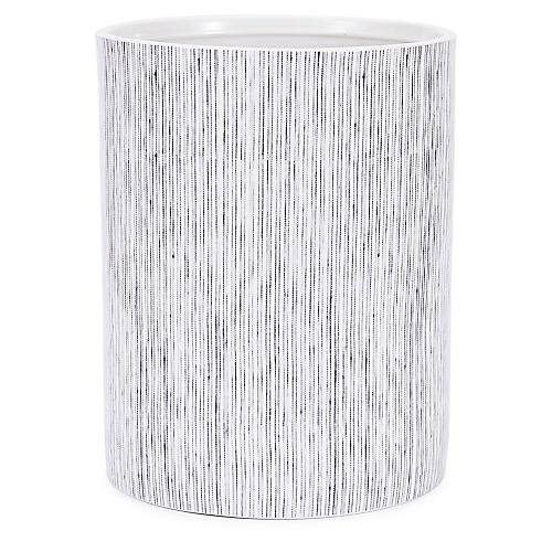 Wainscott Wastebasket, White/Gray