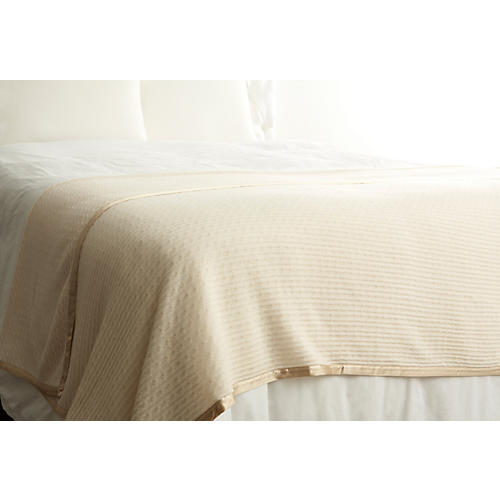 Cashmere Link Throw, Chardonnay