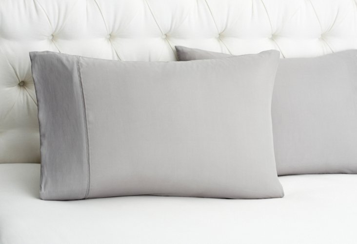 S/2 Kumi Silk Pillowcases, Dove