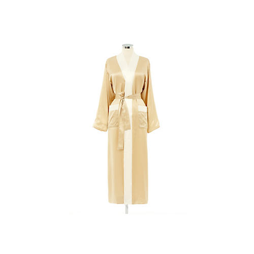 Reversible Long Robe, Ivory/White