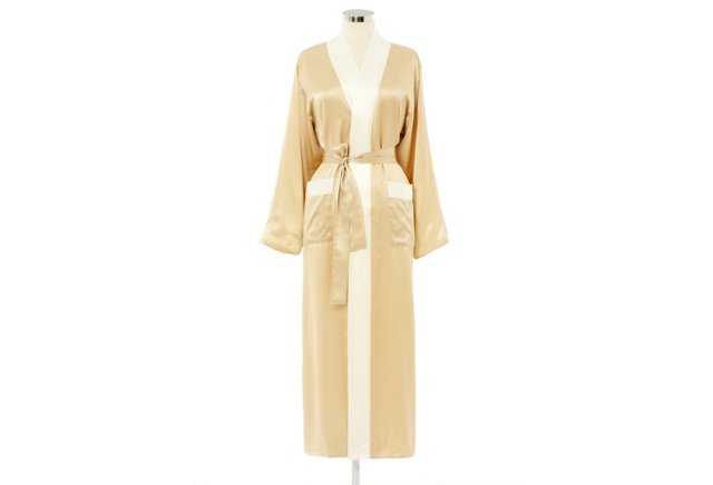 Reversible Long Robe, Ivory/White