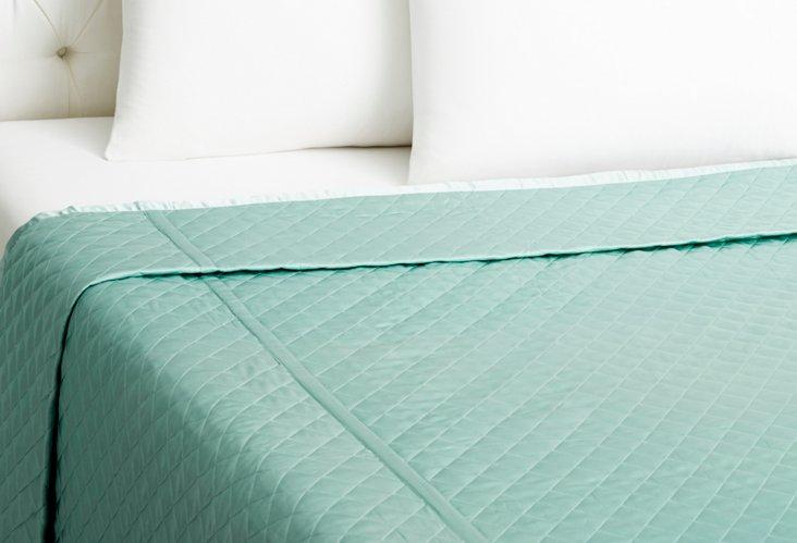Quilted Coverlet, Aquamarine