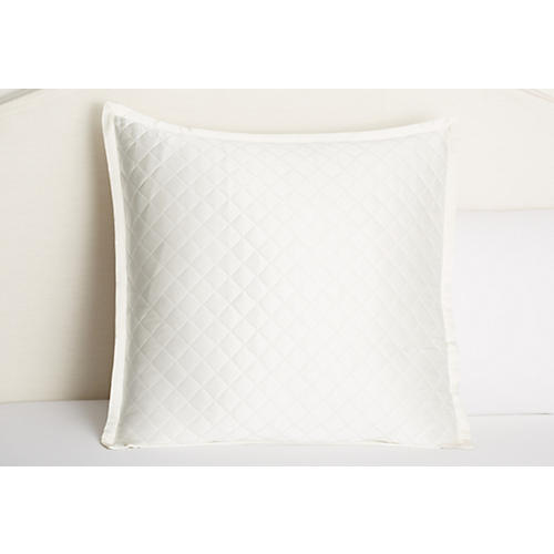 Quilted Euro Sham, White