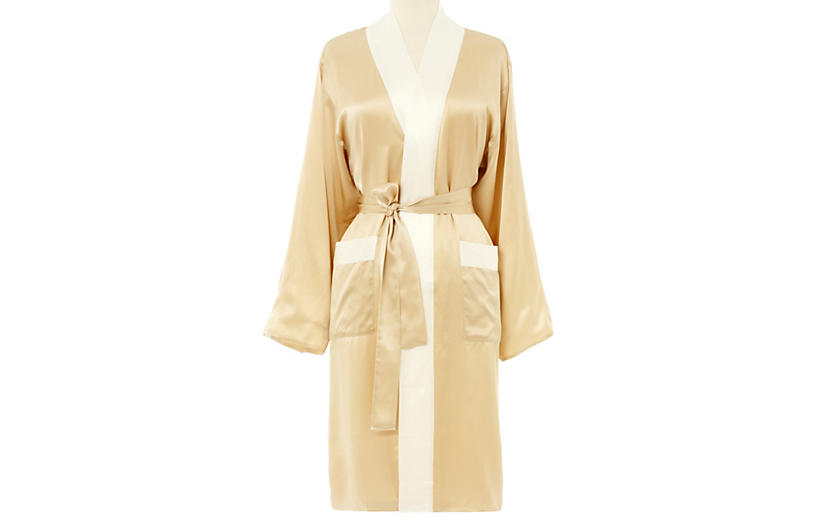 Short Kumi Robe, Ivory/White