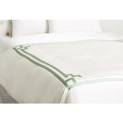 Ming Duvet Cover, White/Seafoam