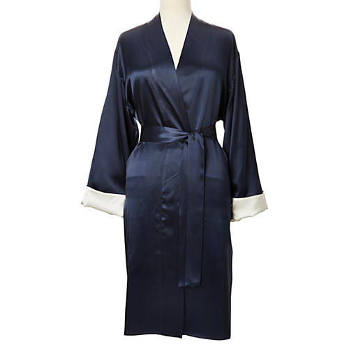 Reversible Short Robe, Indigo/White