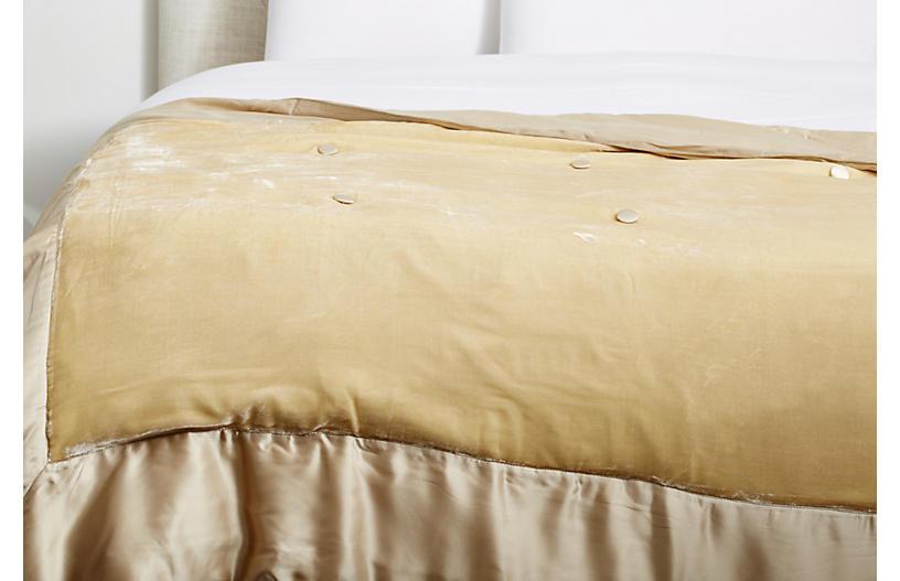 Velvet Silk-Filled Throw, Ivory