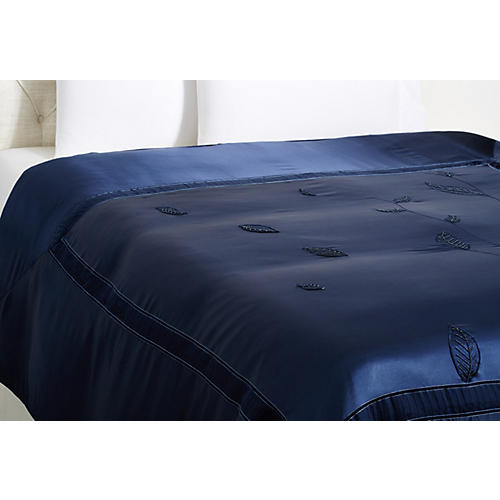 Leaf Queen Duvet Cover, Indigo
