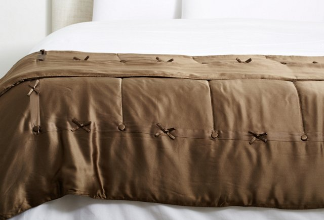 Silk-Filled Throw, Antique Bronze