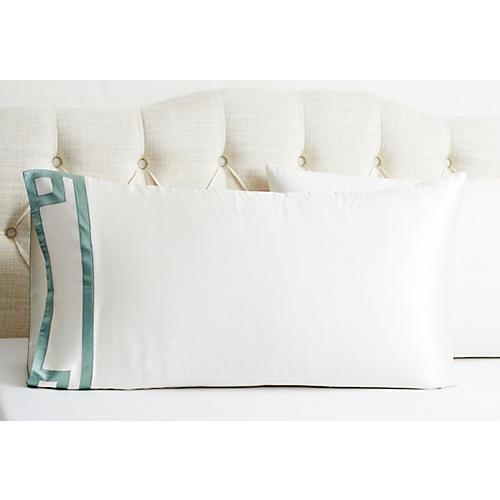 Ming Kg Pillowcase, White/ Seafoam