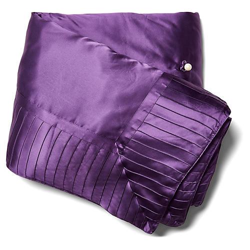 French Pleat Silk Standard Throw, Iris