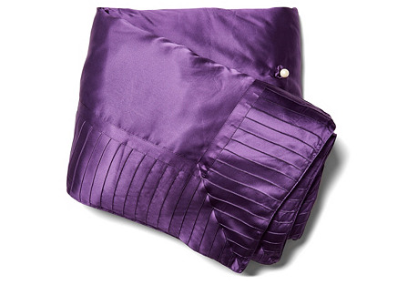 French Pleat Silk Standard Throw, Iris