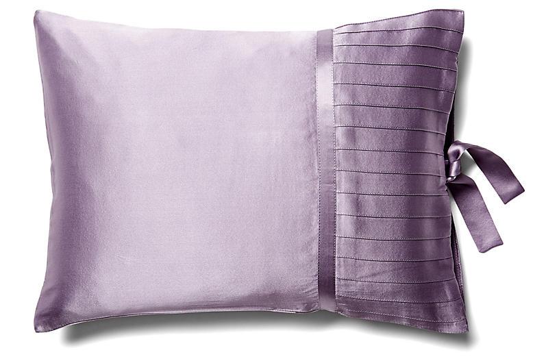 French Pleat Silk Boudoir Sham, Lavender