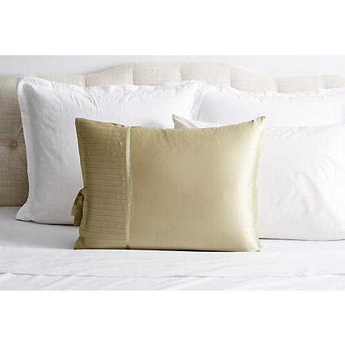 French Pleat Silk Standard Sham, Sage