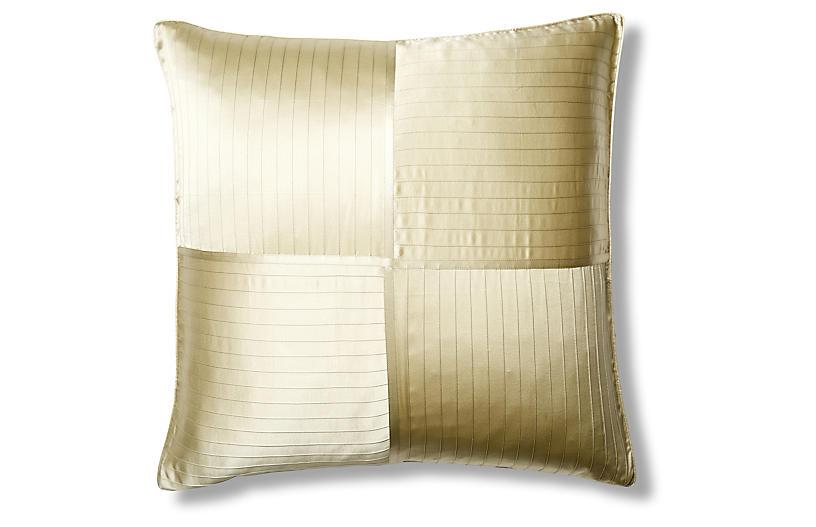 French Pleat Silk Euro Pillow Sham, Sage