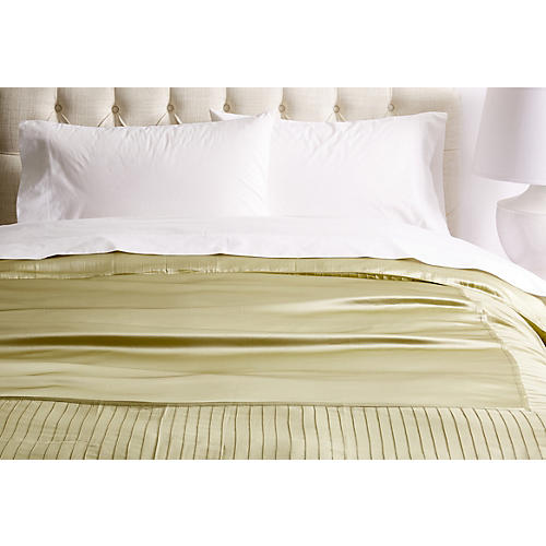 French Pleat Silk Duvet Cover, Sage