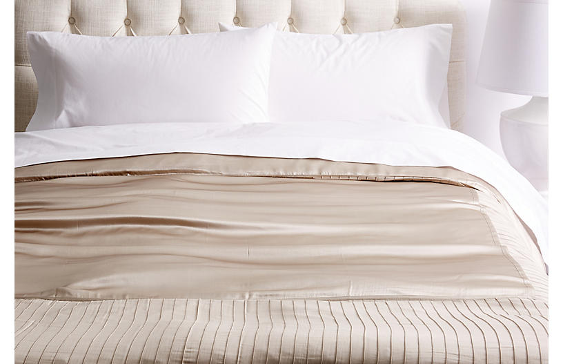 French Pleat Silk Duvet Cover, Taupe