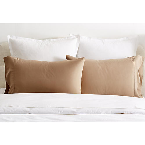 S/2 Kumi Basics Pillowcases, Chestnut