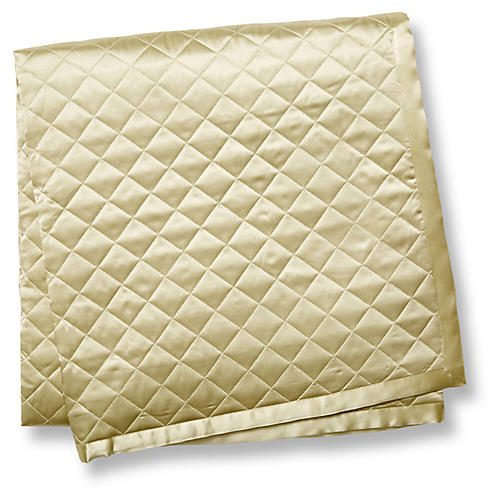 Quilted Silk Throw, Sage