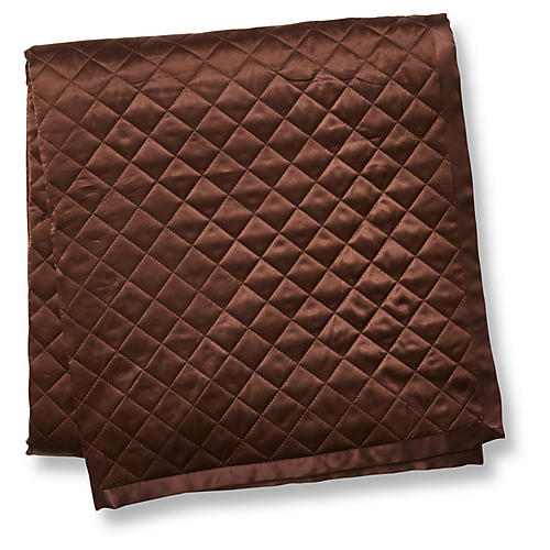 Quilted Silk Throw, Chocolate