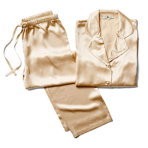 Ashley Silk Pajama Set, Chardonnay