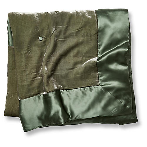 Velvet Silk Filled Throw, Moss