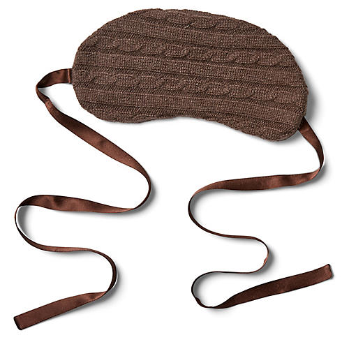 Cashmere Silk-Filled Eye Mask, Chocolate