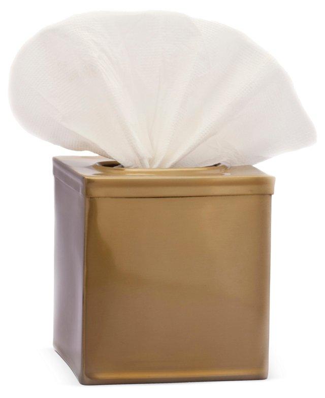 Brushed Tissue Box, Gold