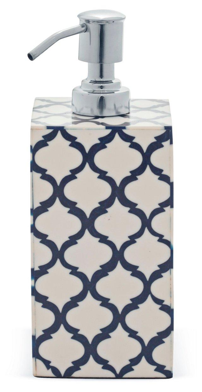 Trellis Lotion Dispenser, Navy/White