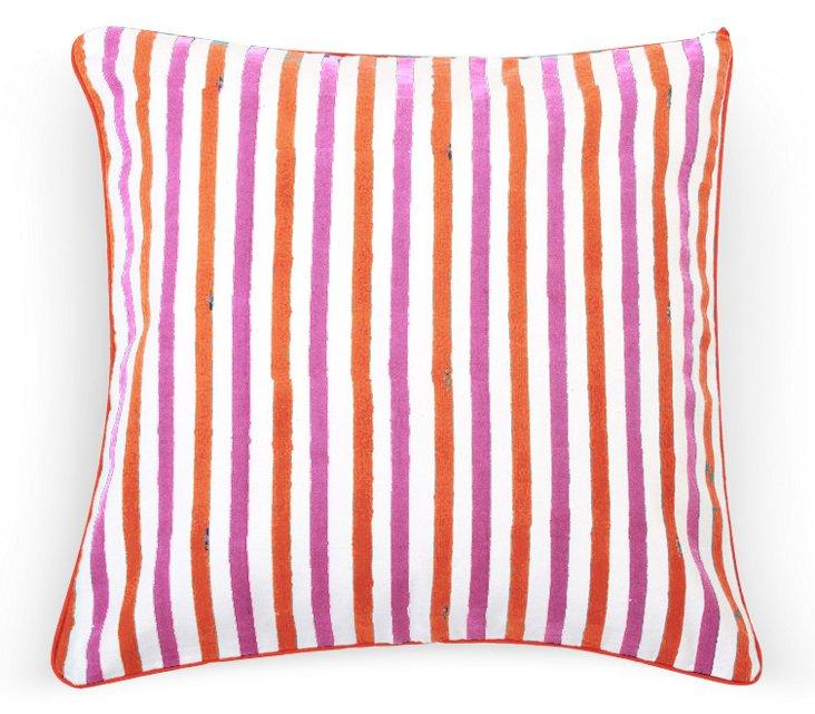 Costa Stripe Dec Pillow Cover, Red