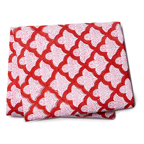 Jemina Fitted Sheet, Red