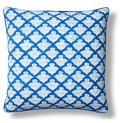 Jemina Cotton Pillow Cover, Blue
