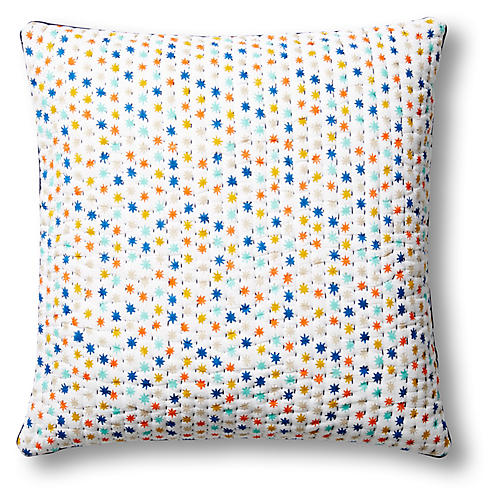Paillettes 22x22 Quilted Pillow Cover, Blue