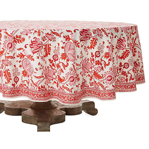 Amanda Round Tablecloth, Red/White
