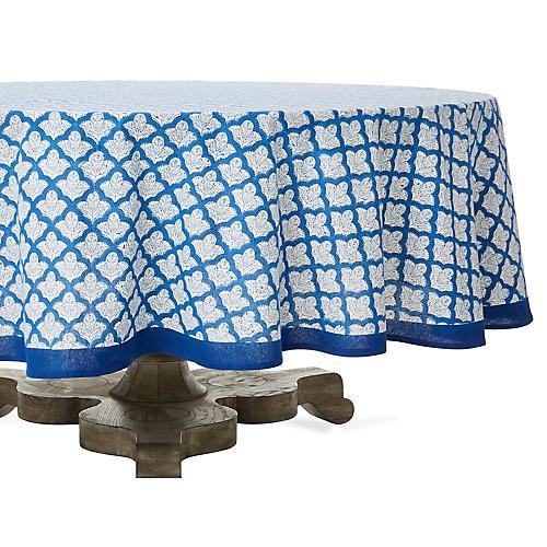 Jemina Round Tablecloth, Blue/White